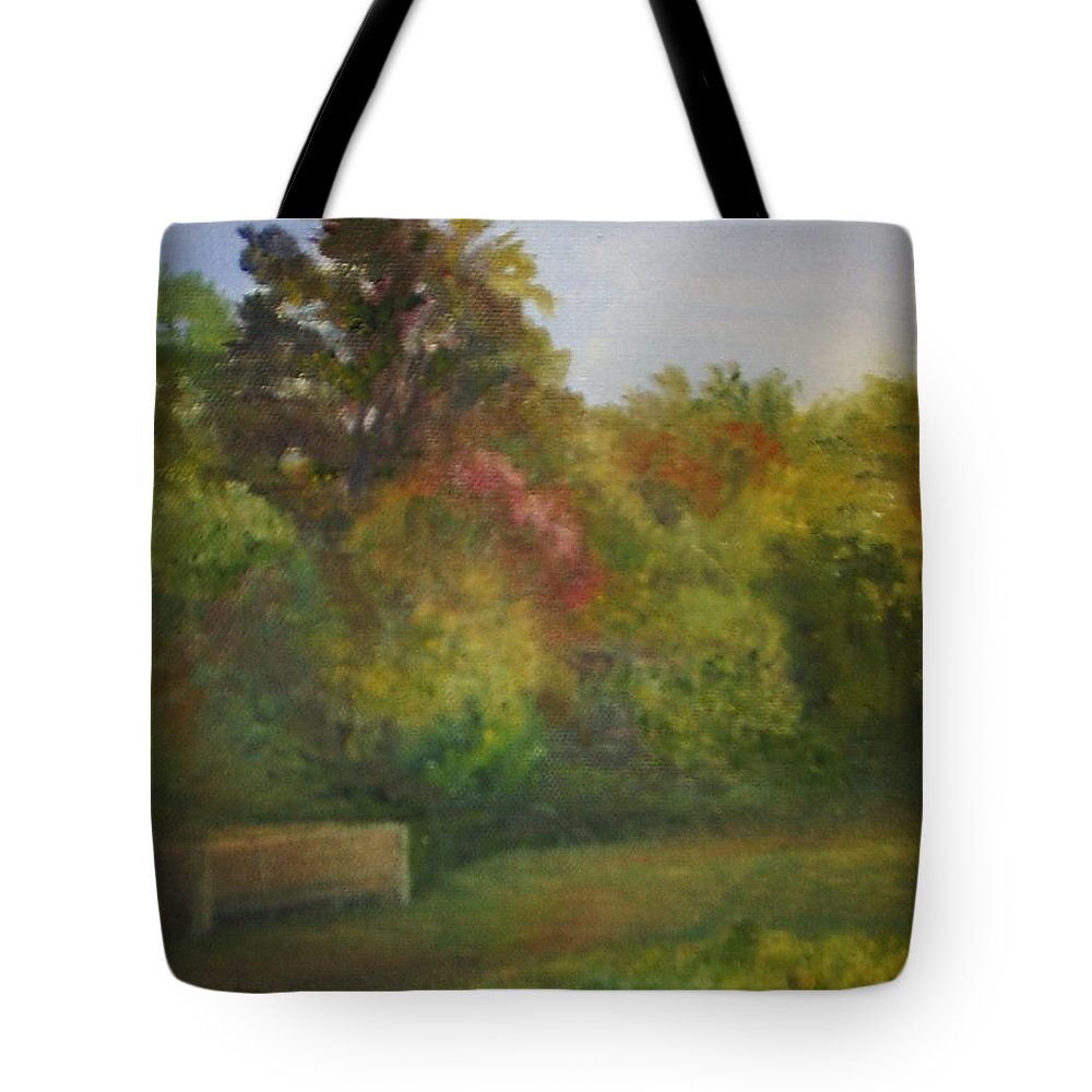 September Tote Bag featuring the painting September in Smithville Park by Sheila Mashaw