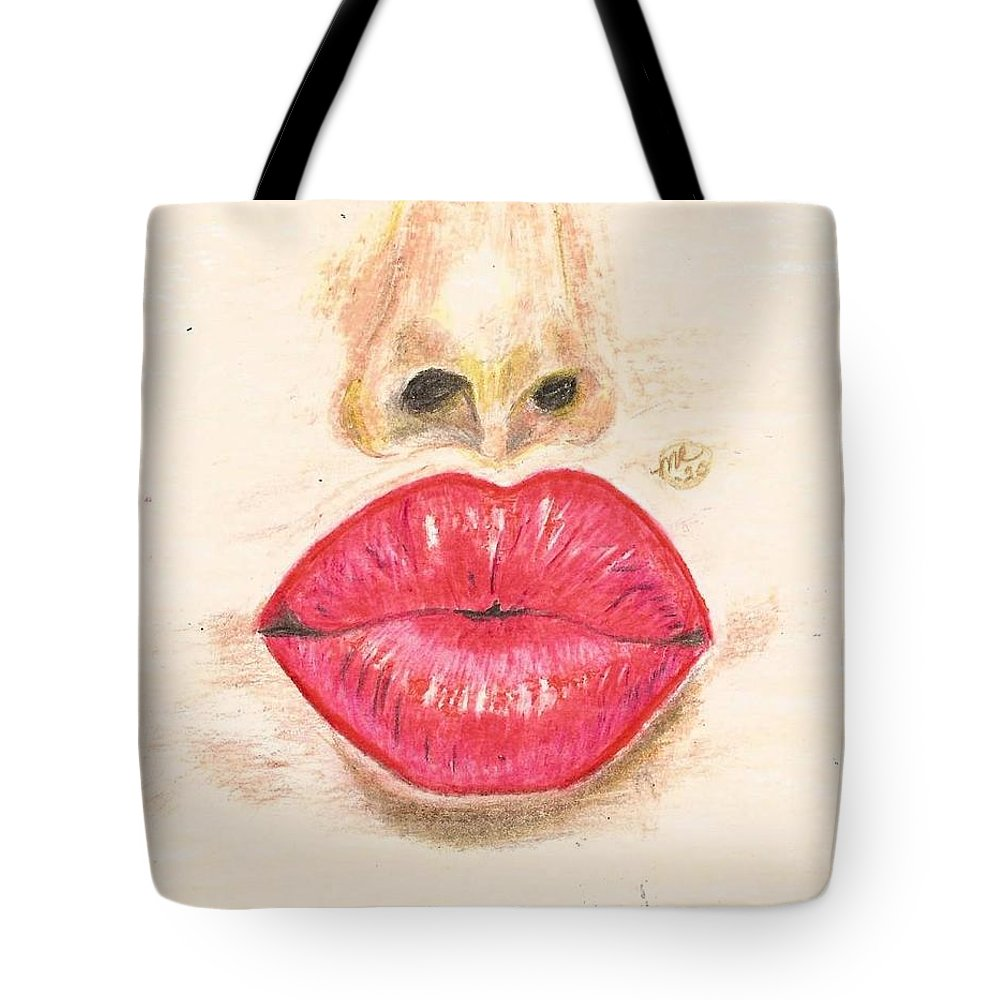 Sexy Red Lips Tote Bag featuring the painting Sexy Red Lips by Monica Resinger