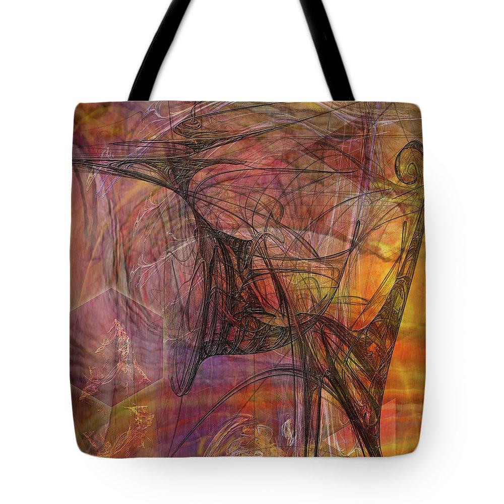 Shadow Dragon Tote Bag featuring the digital art Shadow Dragon by John Robert Beck