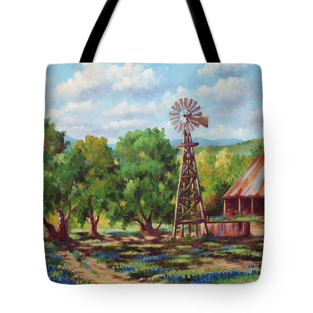 Landscape Tote Bag featuring the painting Shadows In The Farmyard by David G Paul