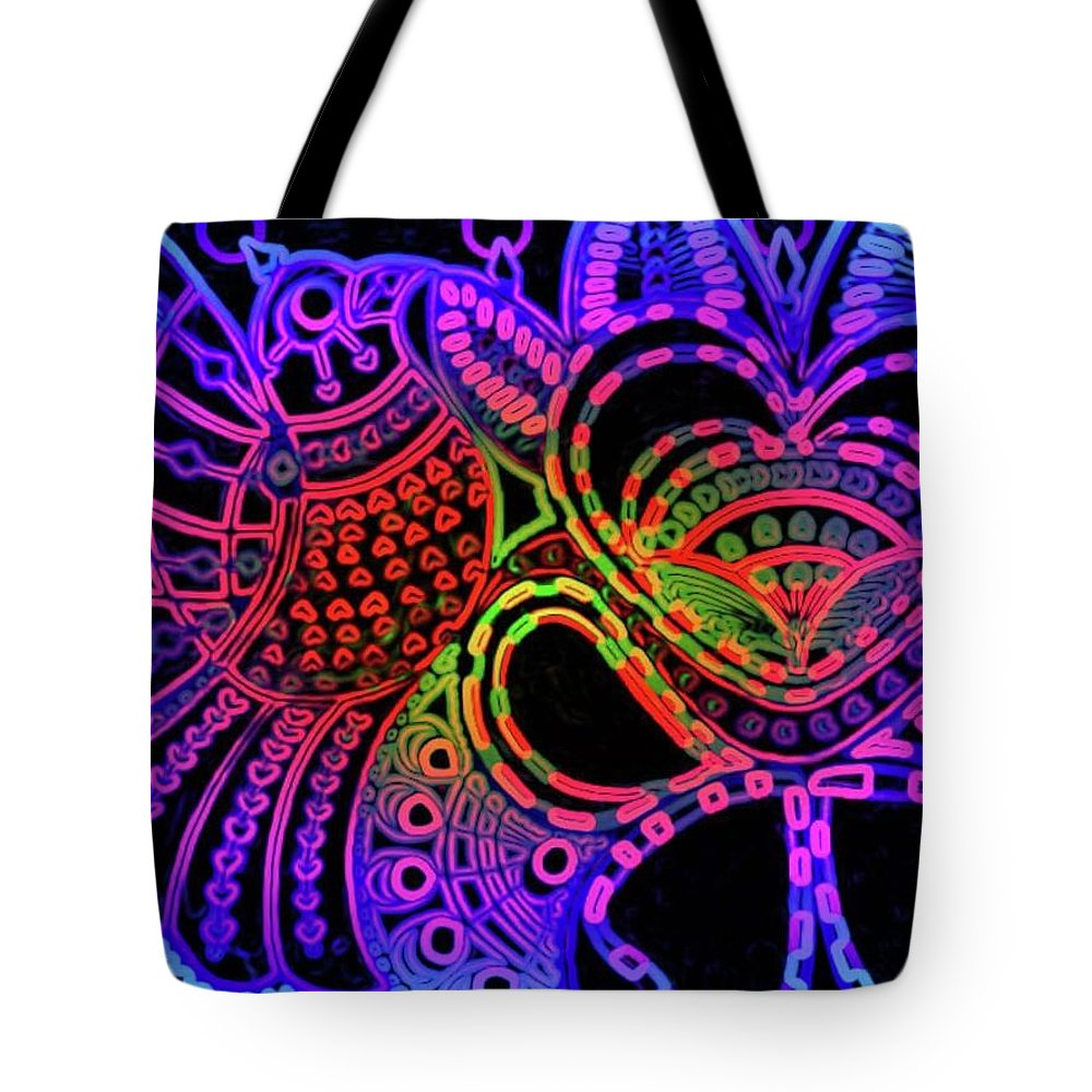 Birds Tote Bag featuring the painting Shahi Bird in the night by Fareeha Khawaja
