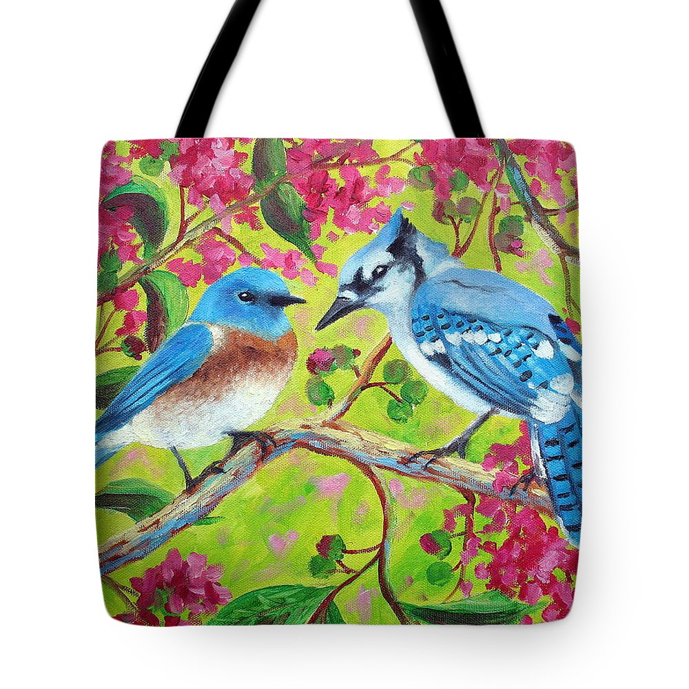 Birds Tote Bag featuring the painting Sharing A Branch by David G Paul