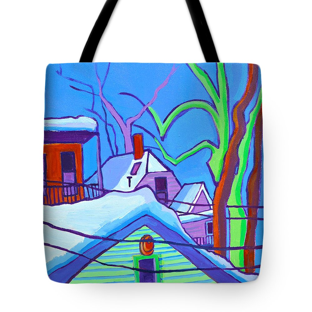 Buildings Tote Bag featuring the painting Sheffield Winter by Debra Bretton Robinson