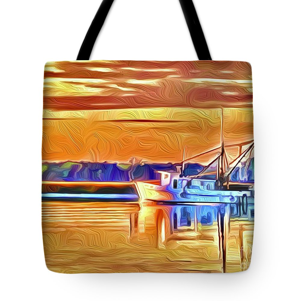 Tote Bag featuring the digital art Shrimp boat at Sunrise by Michael Stothard