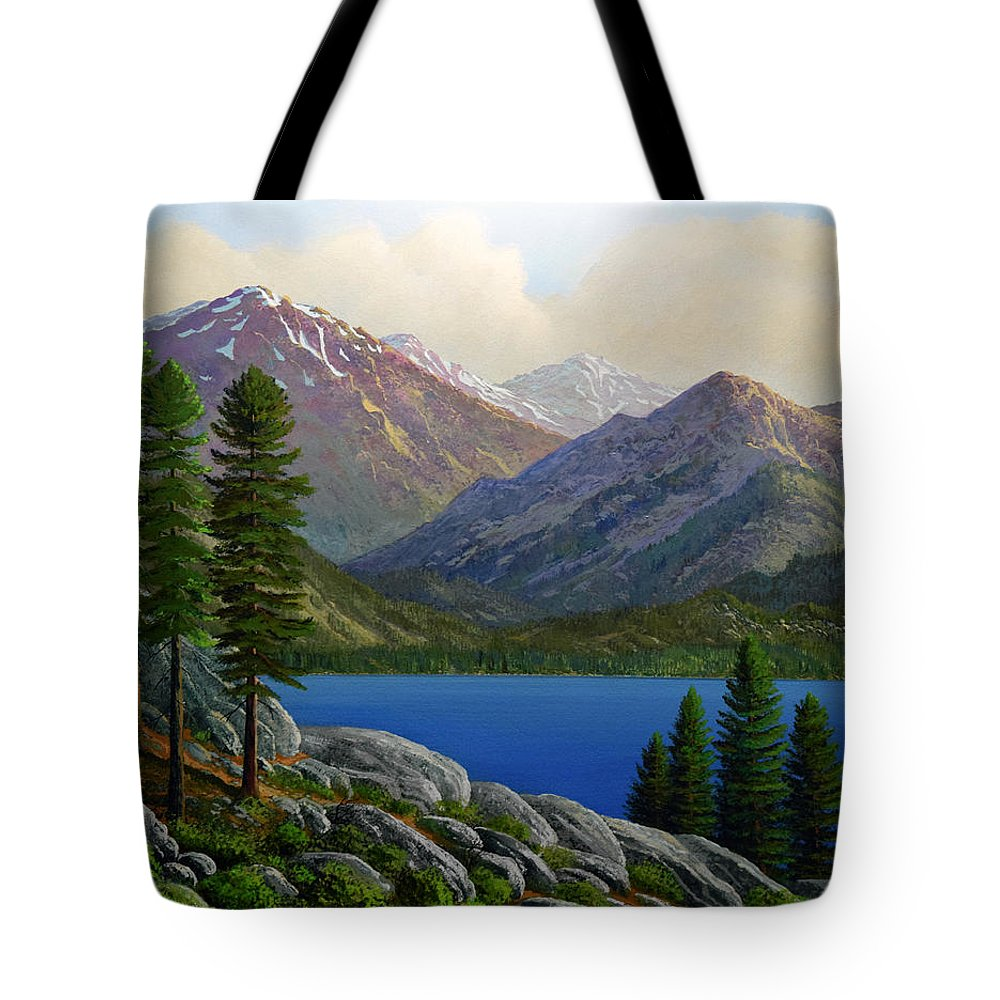 Landscape Tote Bag featuring the painting Sierra Views by Frank Wilson