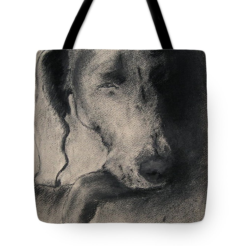 Weimaraner Tote Bag featuring the drawing Silhouette by Cori Solomon