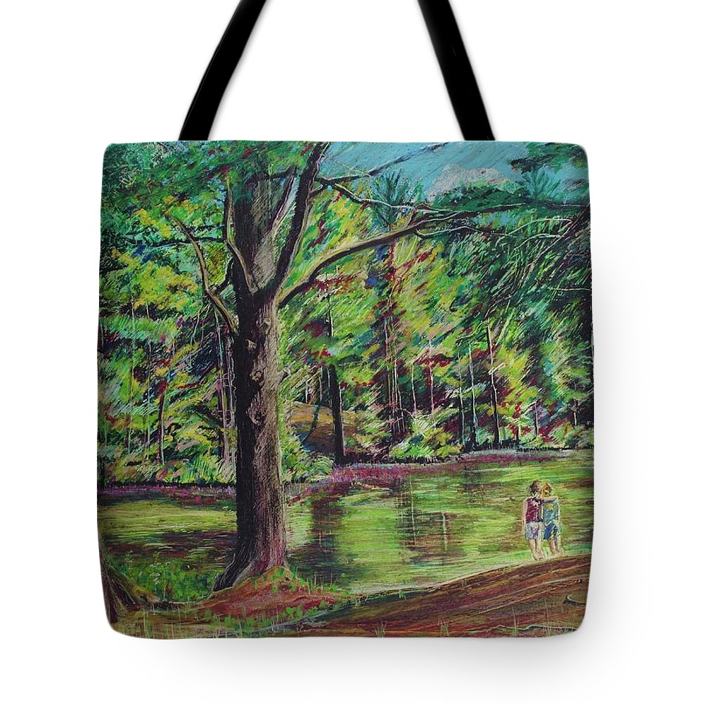 Family Tote Bag featuring the pastel Sisters At Wason Pond by Sean Connolly