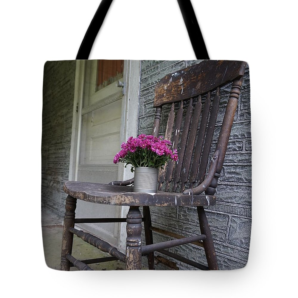 Wall Art Tote Bag featuring the photograph Sit A Spell by Chris Naggy