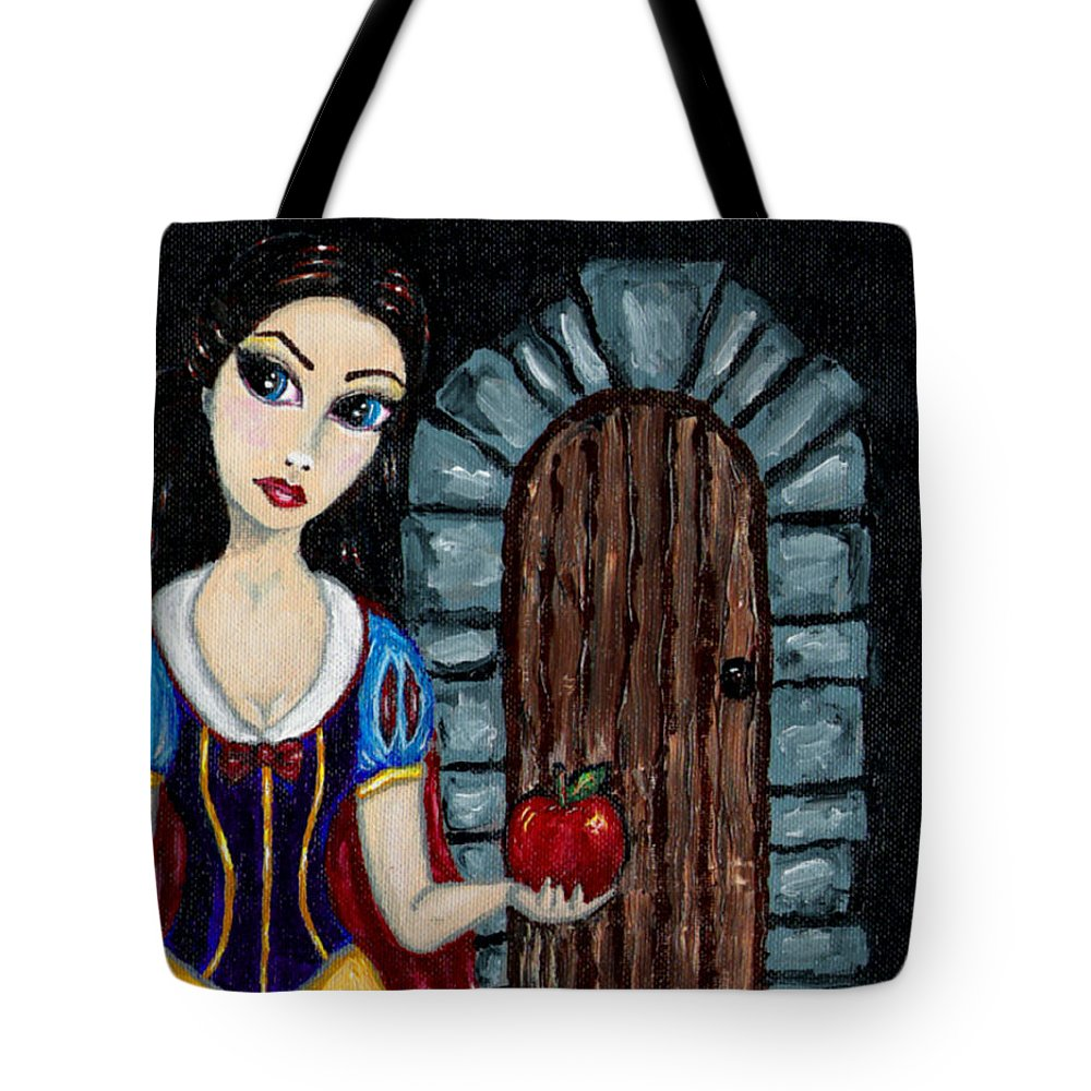 Fairy Tale Tote Bag featuring the painting Snow White Considers The Apple by Bronwen Skye