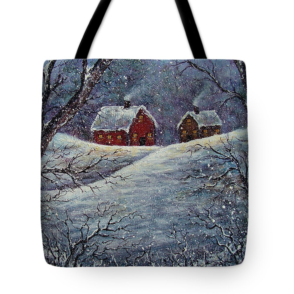 Landscape Tote Bag featuring the painting Snowy Day by Natalie Holland