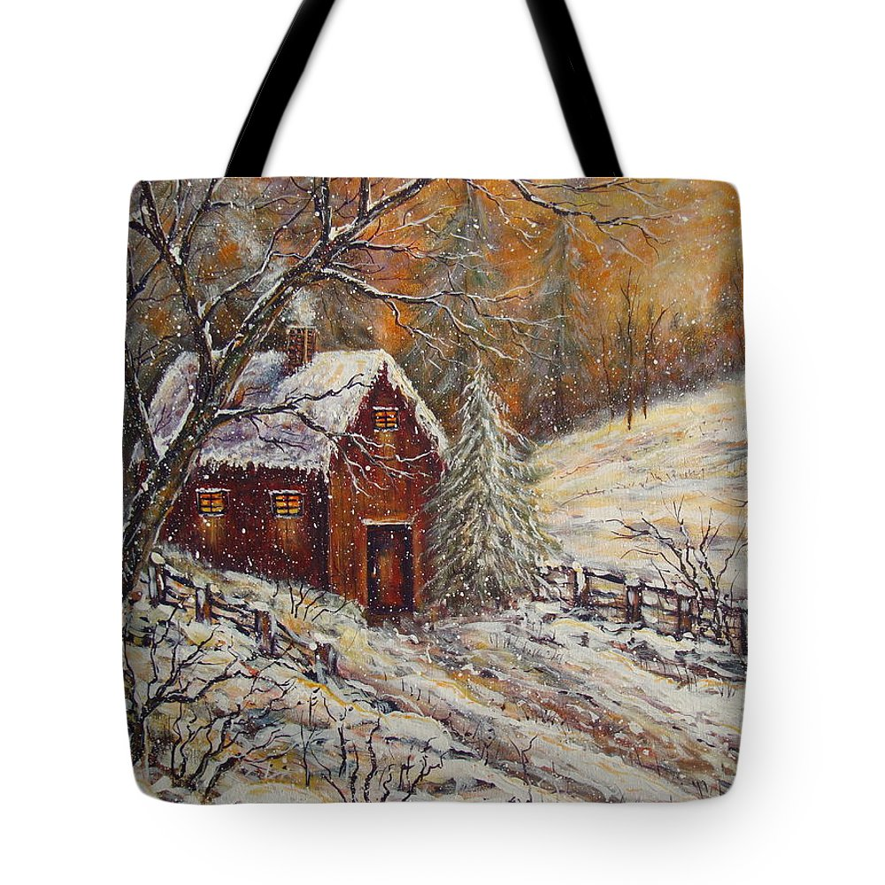 Landscape Tote Bag featuring the painting Snowy Sunset by Natalie Holland