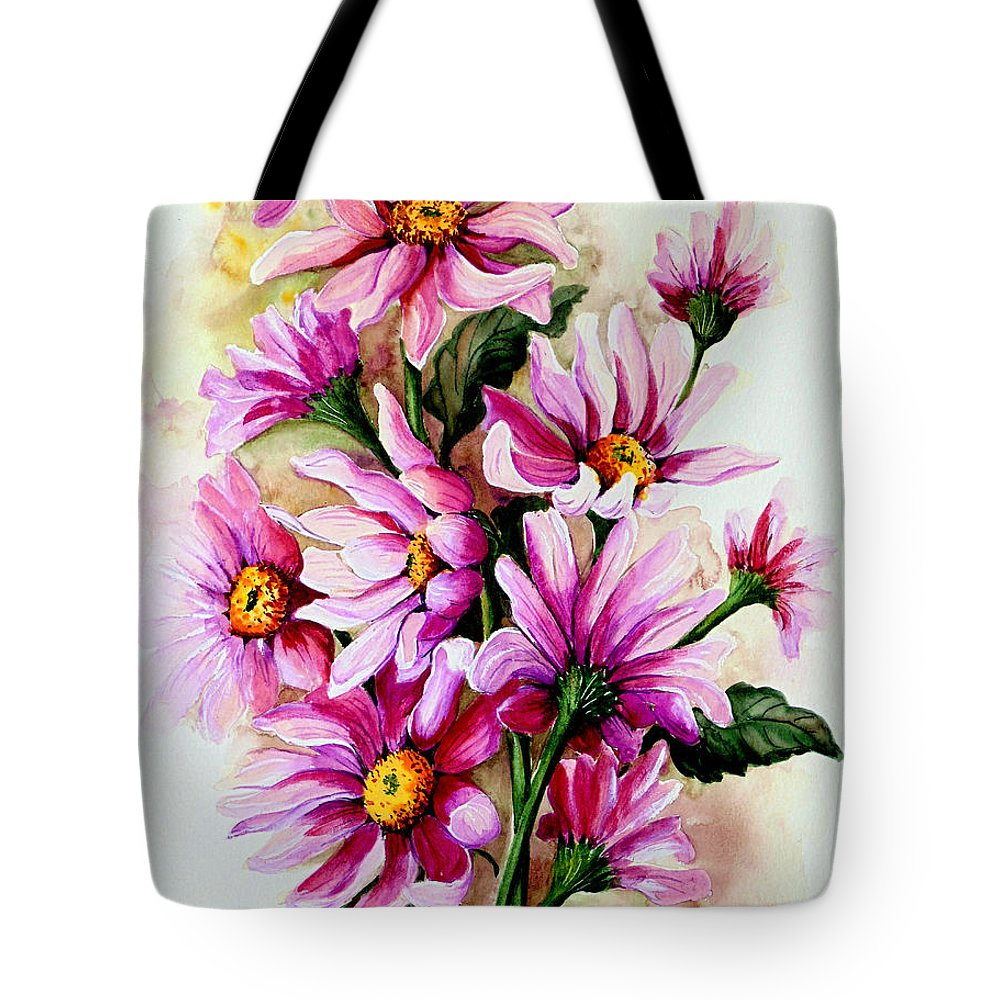 Pink Daisy Floral Painting Flower Painting Botanical Painting Bloom Painting Greeting Card Painting Tote Bag featuring the painting So Pink by Karin Dawn Kelshall- Best