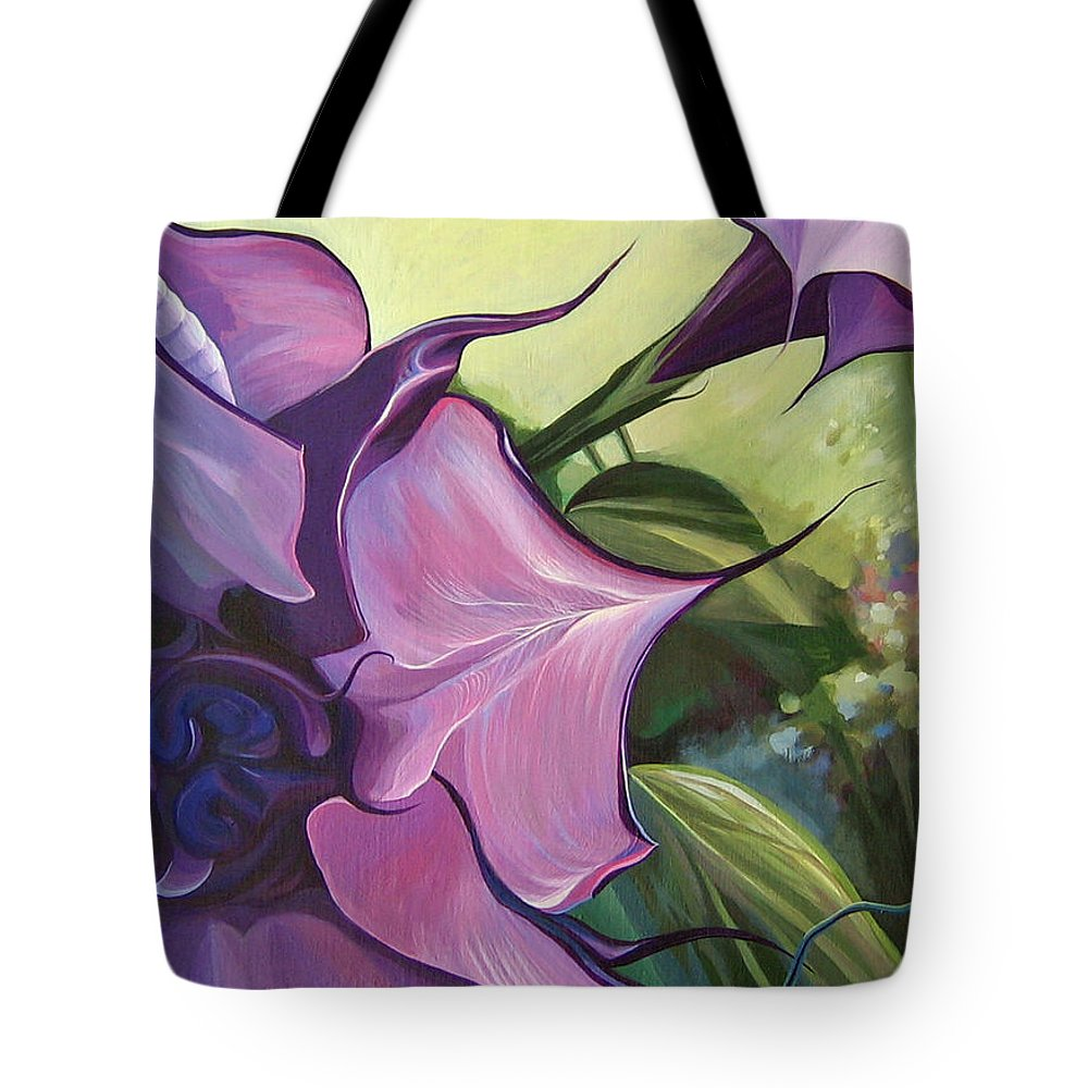 Jimson Weed Tote Bag featuring the painting Sometimes In Summer by Hunter Jay