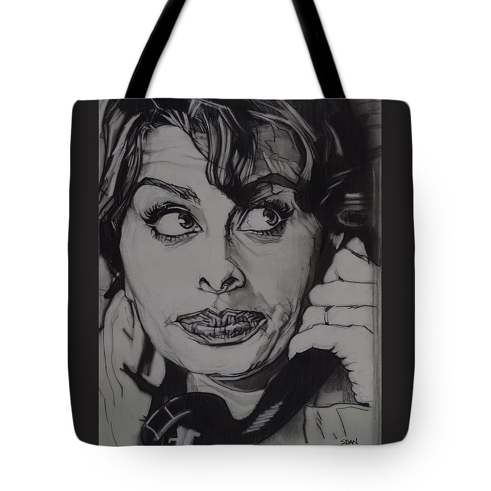 Charcoal On Paper Tote Bag featuring the drawing Sophia Loren Telephones by Sean Connolly