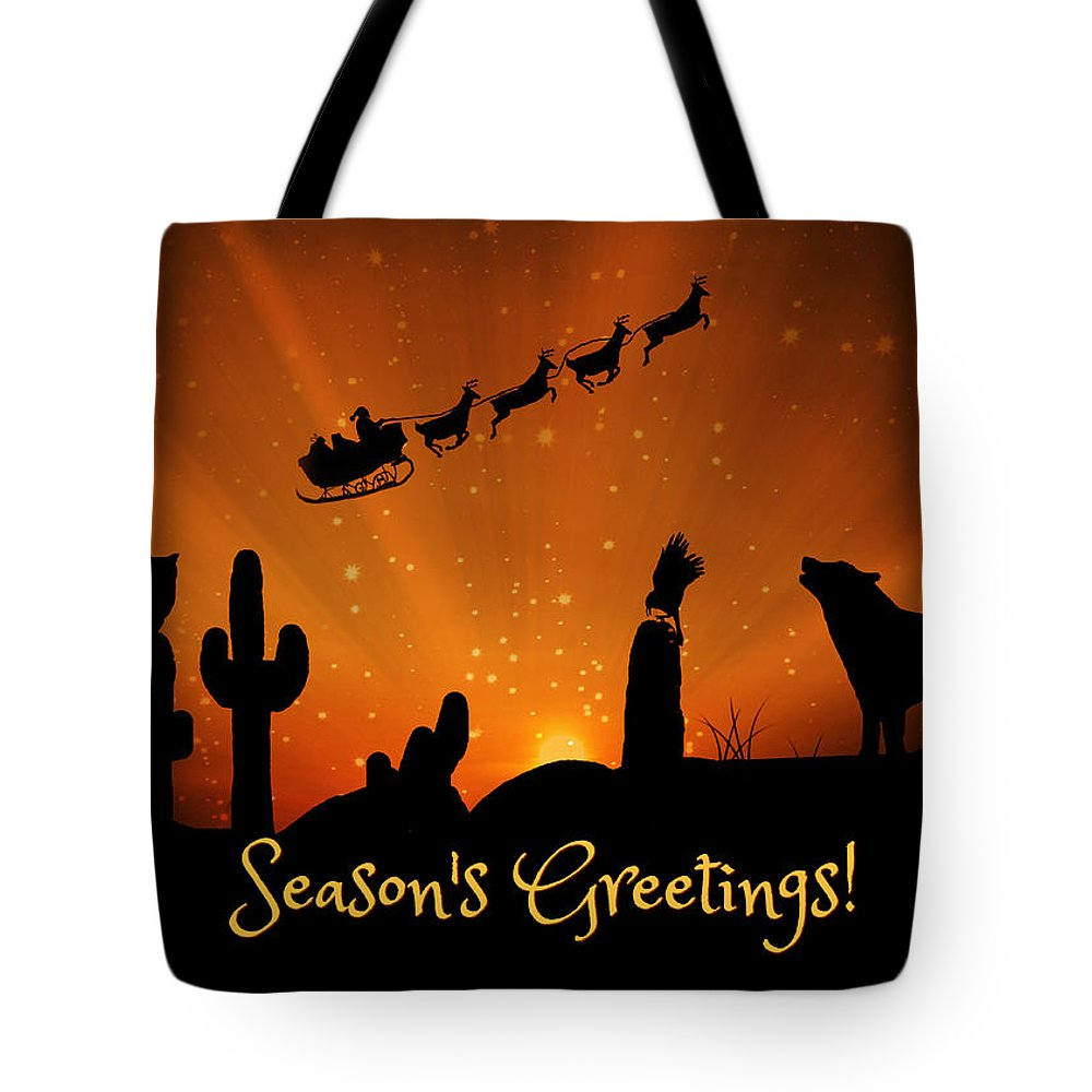 Season's Greetings Tote Bag featuring the photograph Southwestern Season's Greeting Saguaro Cactus, Owl, Raven And Coyote With Santa by Stephanie Laird
