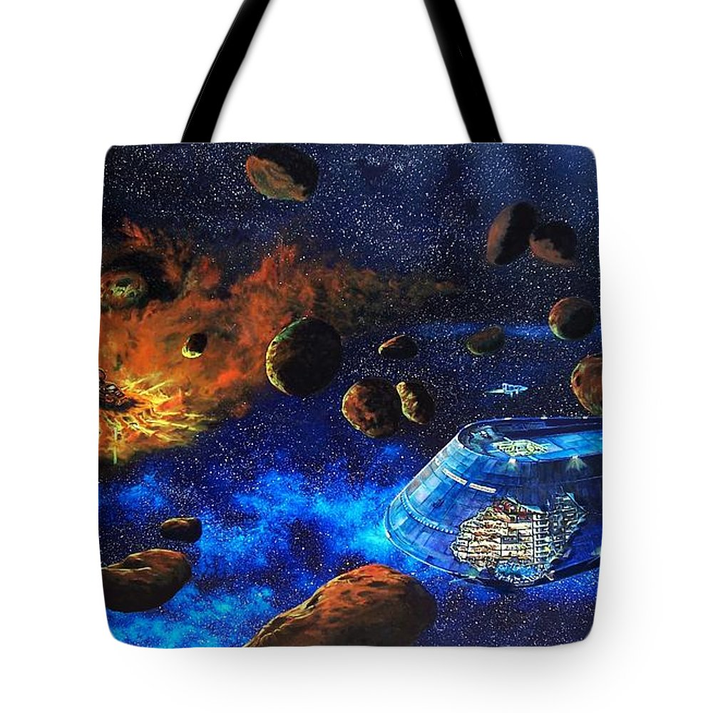 Future Tote Bag featuring the painting Spaceship Titanic by Murphy Elliott