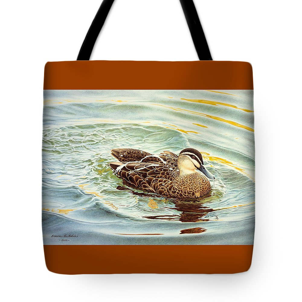 Watercolour Birds Tote Bag featuring the painting Splash - Pacific Black Duck by Frances McMahon