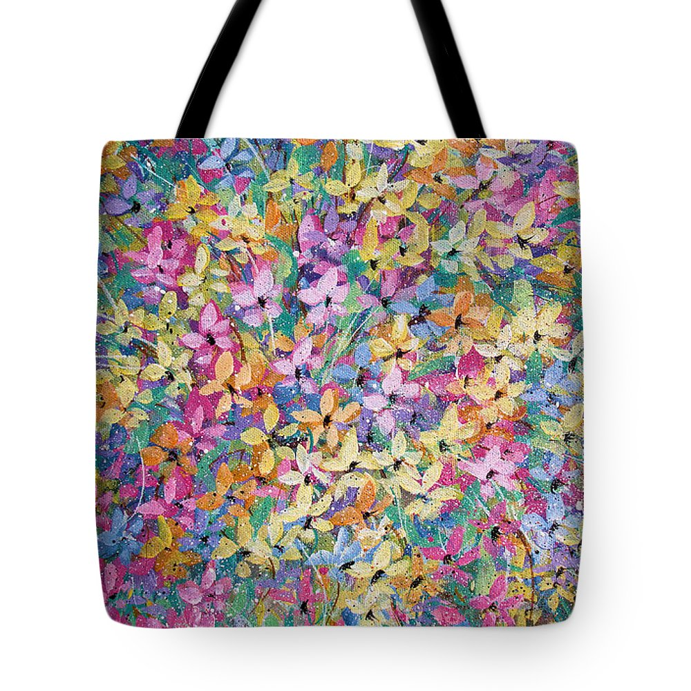 Flowers Tote Bag featuring the painting Spring floral bouquet. by Natalie Holland