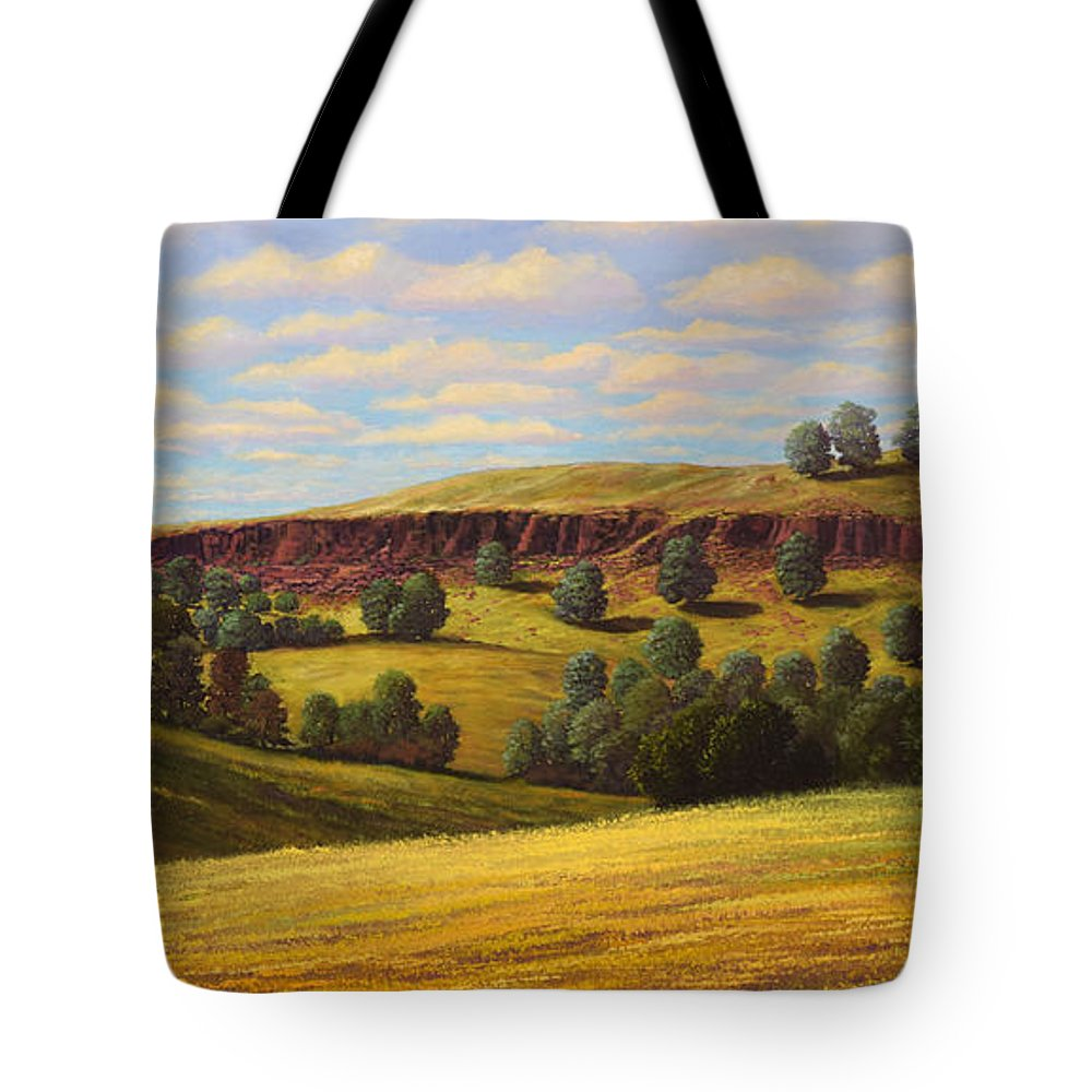 Landscape Tote Bag featuring the painting Spring In The Canyon by Frank Wilson