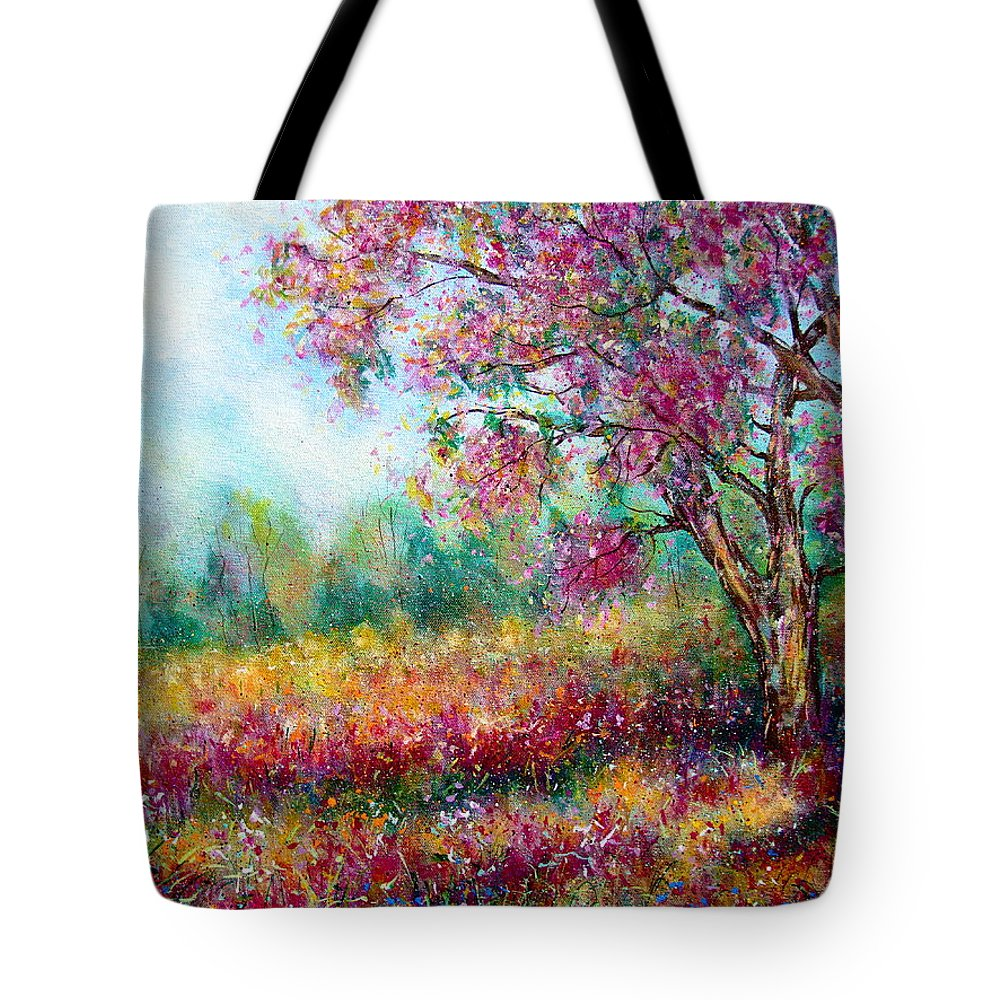 Landscape Tote Bag featuring the painting Spring by Natalie Holland