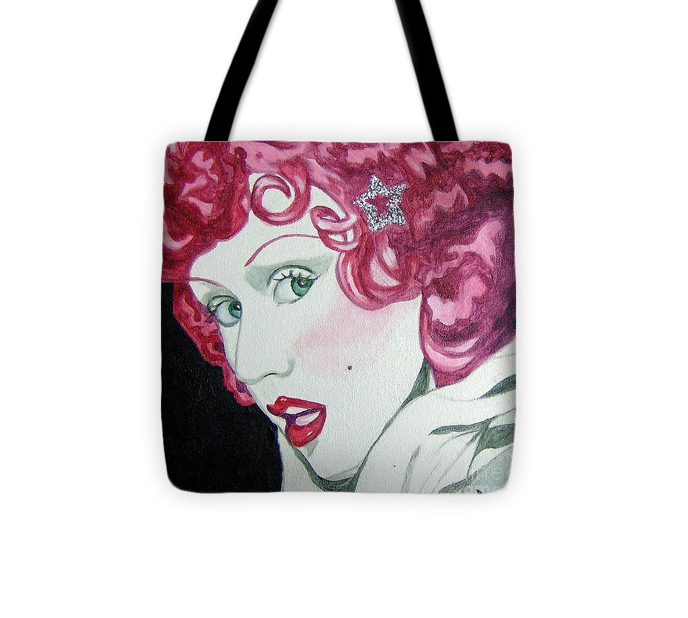 Christina Aguilera Tote Bag featuring the painting Star by Holly Picano