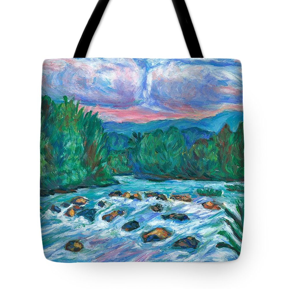 Landscape Tote Bag featuring the painting Stepping Stones on the New River by Kendall Kessler