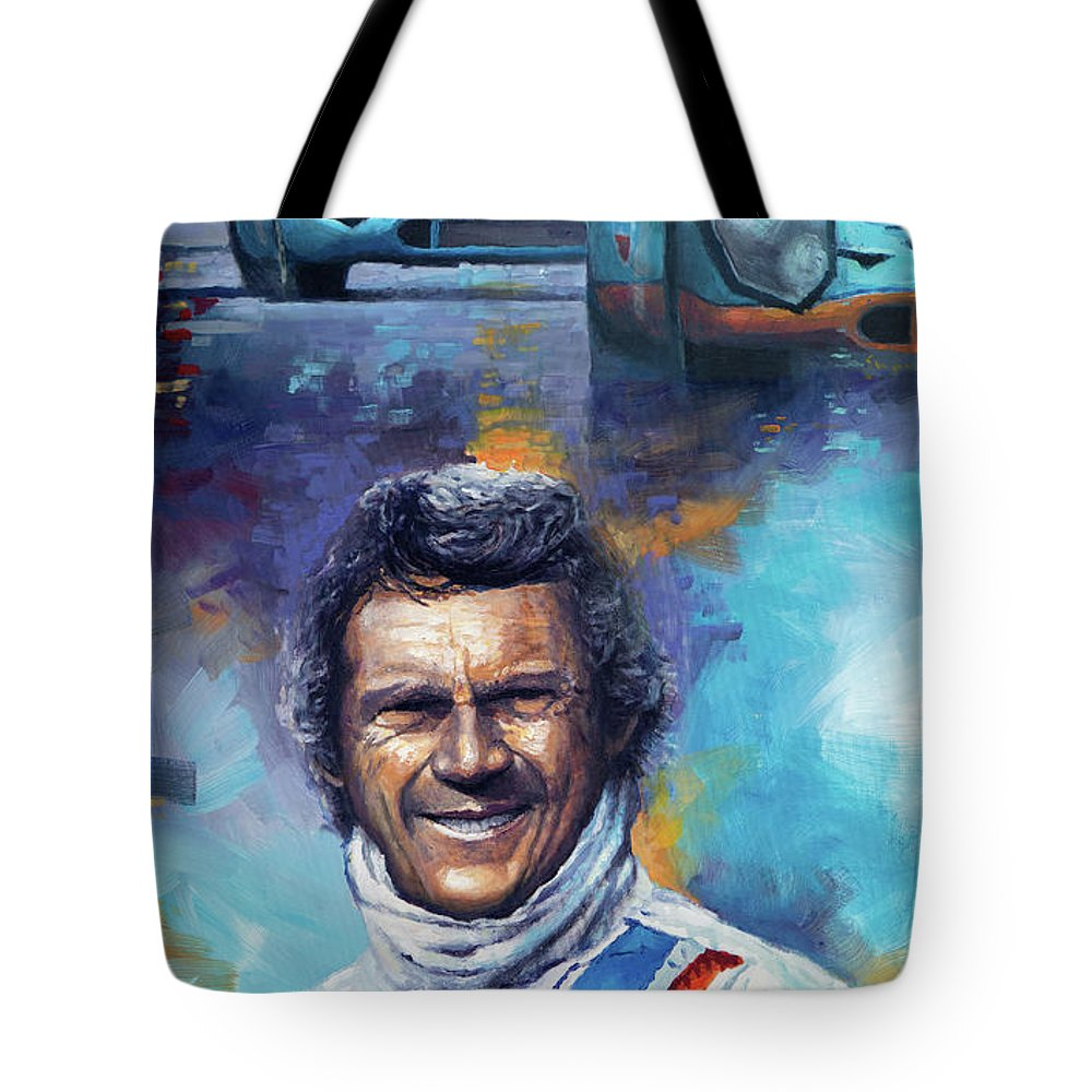 Acrilic Tote Bag featuring the painting Steve McQueen Le Mans Porsche 917 by Yuriy Shevchuk