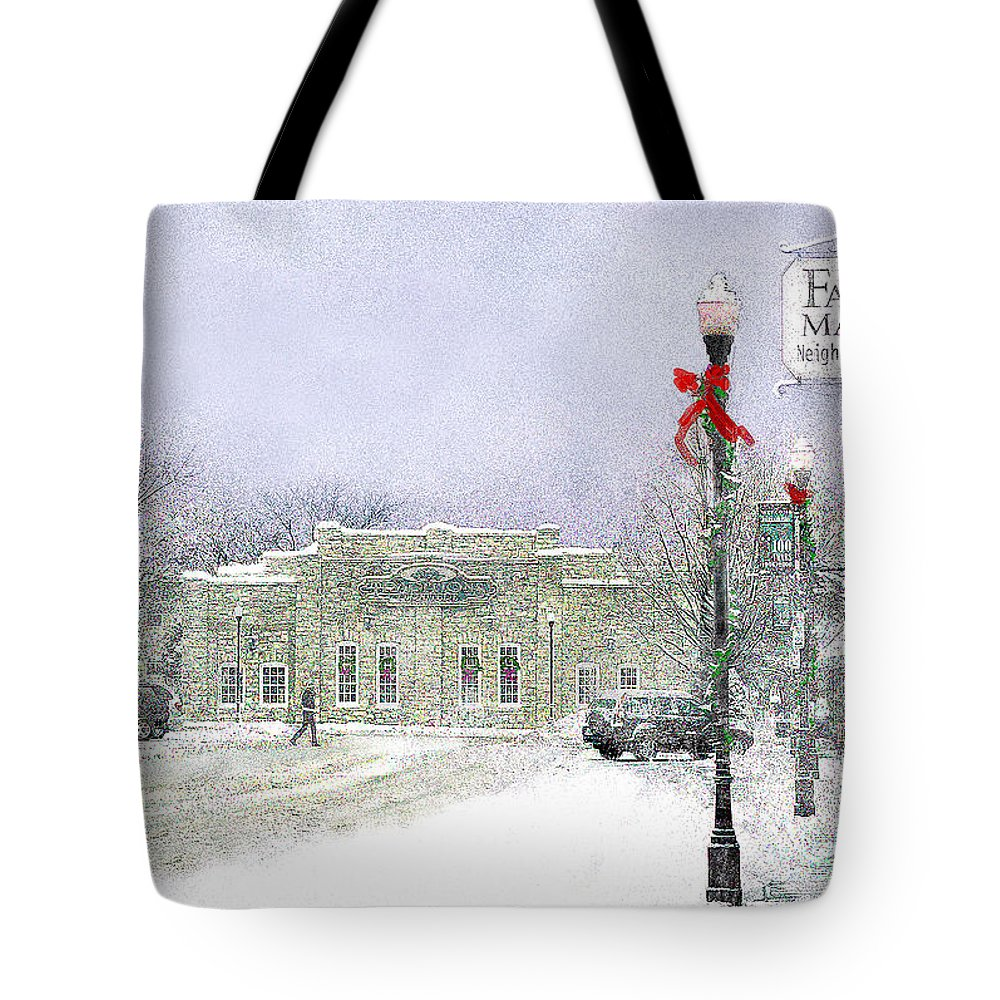 Snow Scene Tote Bag featuring the photograph Strang Car Barn in Winter by Steve Karol