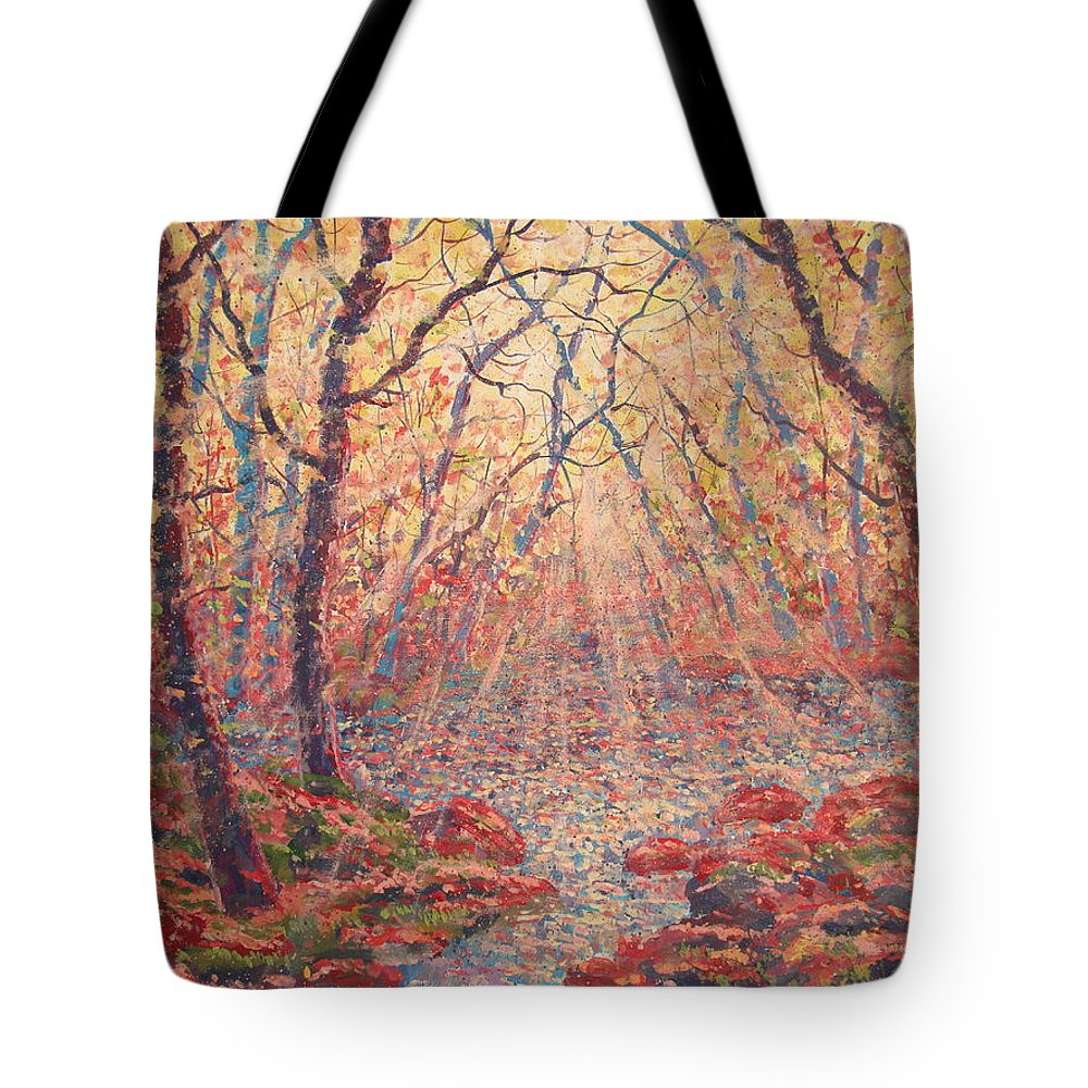 Painting Tote Bag featuring the painting Sun Rays Through The Trees. by Leonard Holland