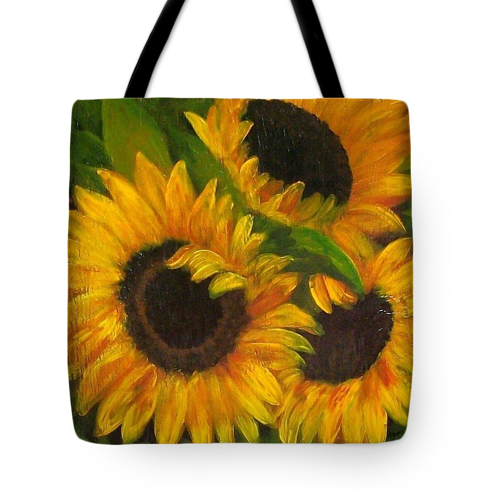 Sunflower Painting Tote Bag featuring the painting Sunflowers by Tami Booher