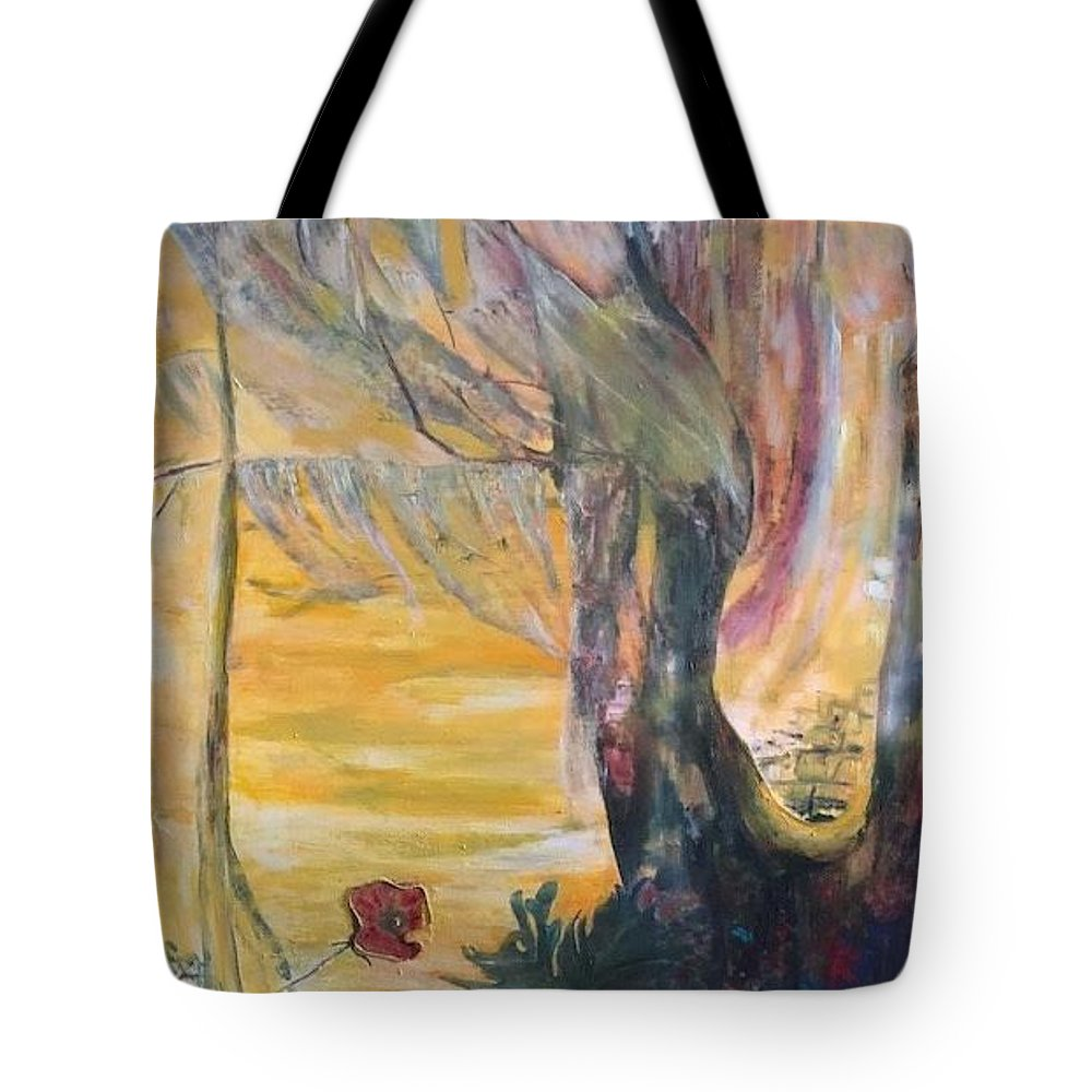Sunshine Tote Bag featuring the painting Sunrise on Wilmington Island by Peggy Blood