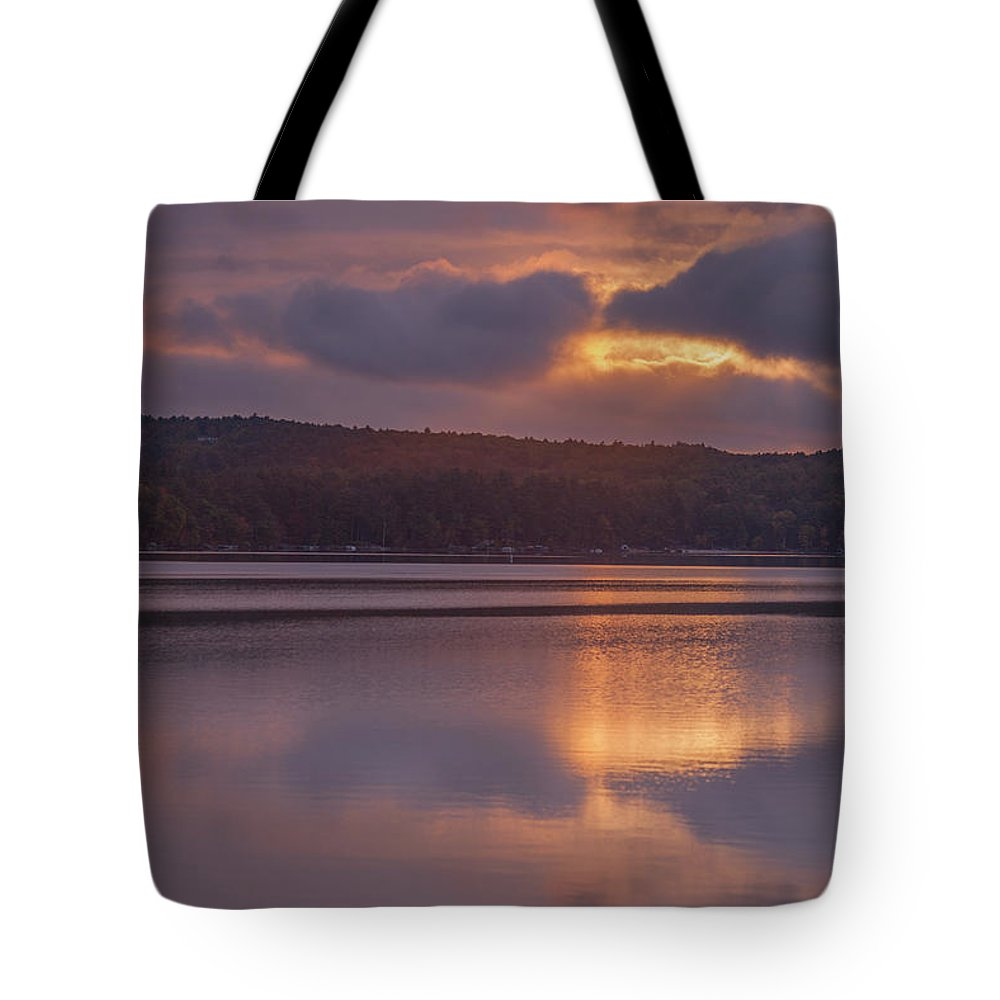 Sunrise Tote Bag featuring the photograph Sunrise Over Meredith Bay - Meredith, NH by Trevor Slauenwhite