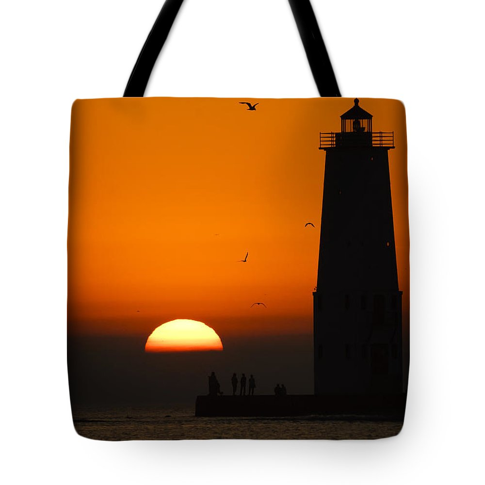 3scape Tote Bag featuring the photograph Sunset at Frankfort North Breakwater Lighthouse by Adam Romanowicz