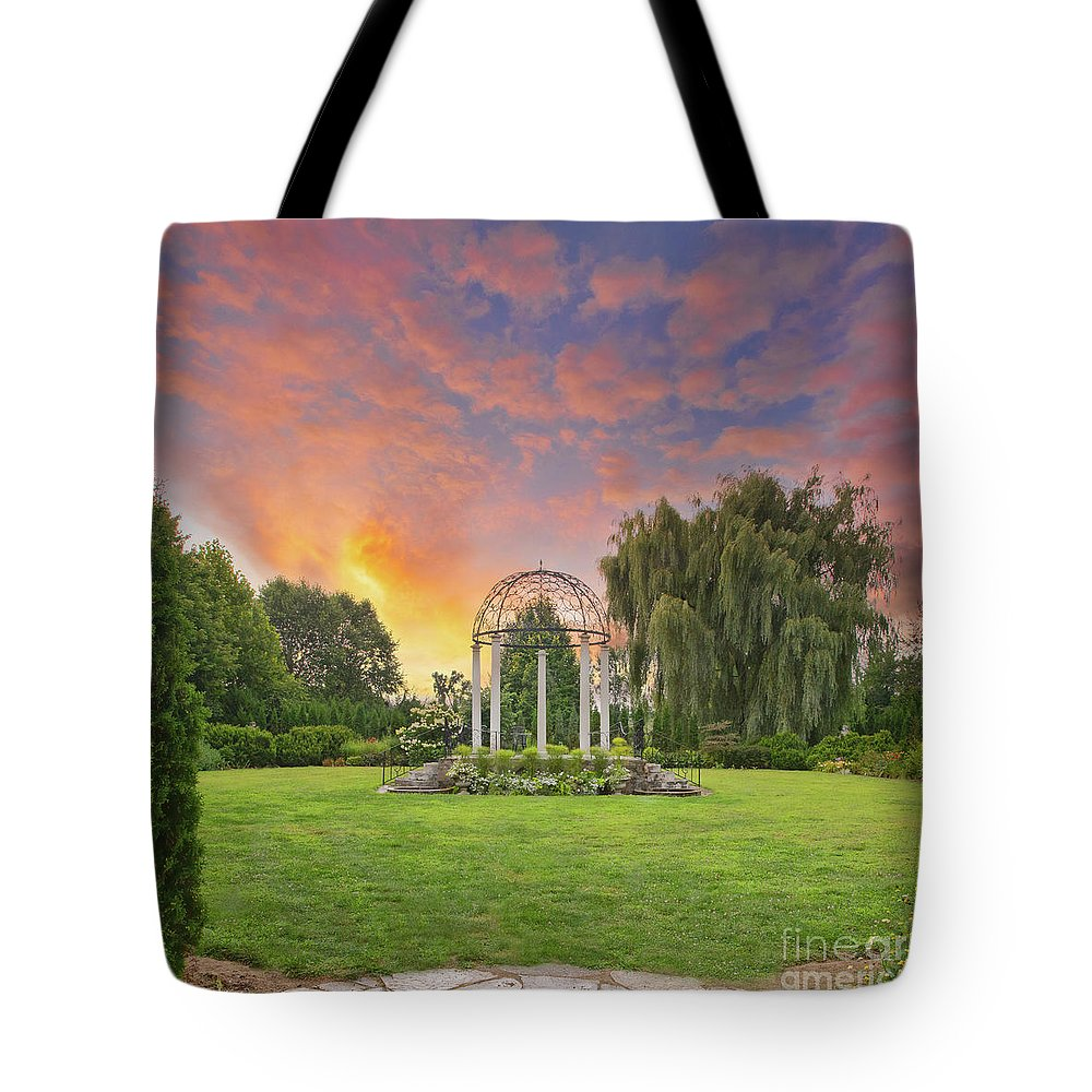 August Garden Tote Bag featuring the photograph Sunset at the Temple of Love by Marilyn Cornwell