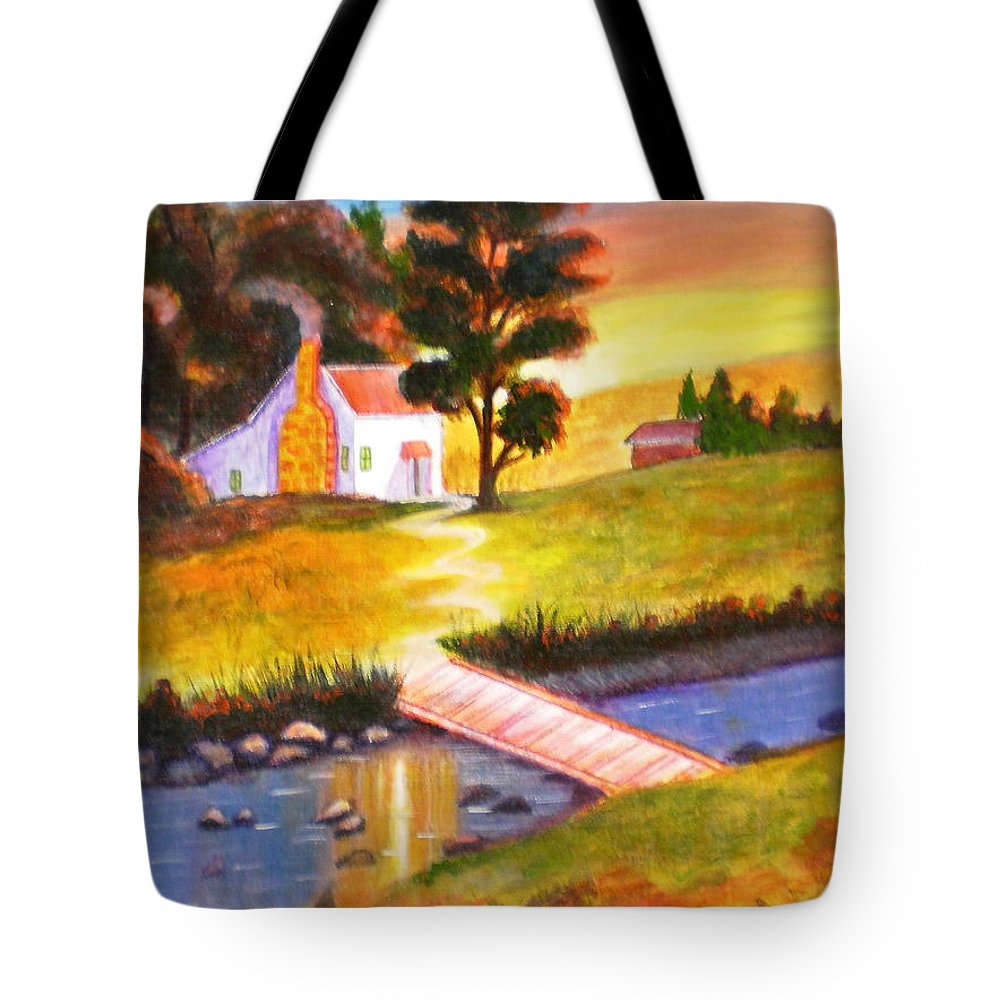 Sunset Acrylic Painting Art Cottage Trees Water Green Orange Red Sky Bridge Rocks Pebbles Yellow House Bushes Tote Bag featuring the painting Sunset Cottage by Manjiri Kanvinde