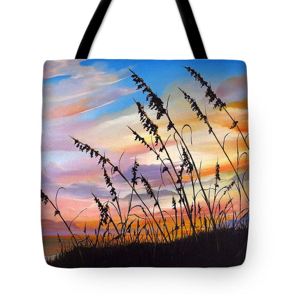 Ocean Painting Tote Bag featuring the painting Sunset Fort Desoto Beach by Karin Dawn Kelshall- Best