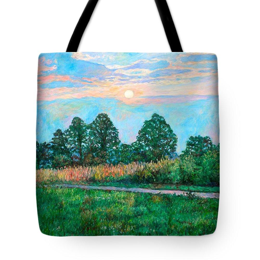 Kendall Kessler Tote Bag featuring the painting Sunset Near Fancy Gap by Kendall Kessler