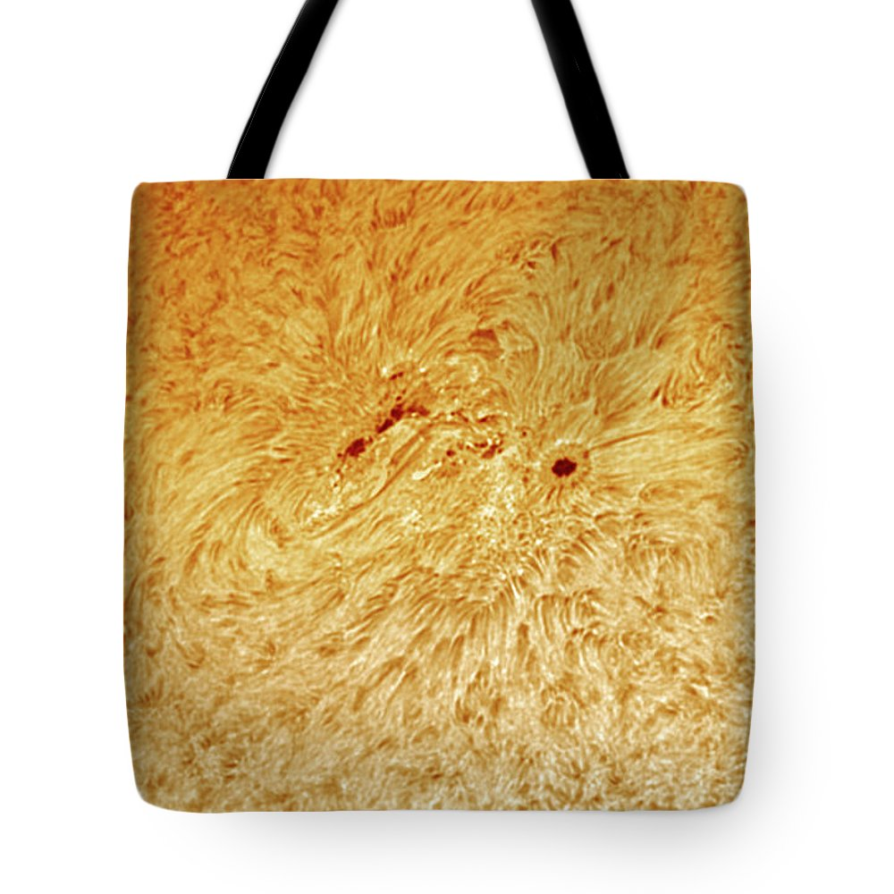 Sunspots Tote Bag featuring the photograph Sunspot AR 2781 by Prabhu Astrophotography