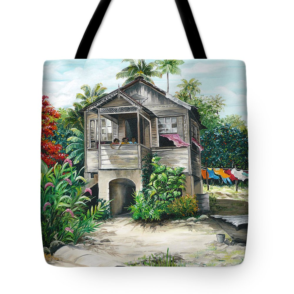 Landscape Painting Caribbean Painting House Painting Tobago Painting Trinidad Painting Tropical Painting Flamboyant Painting Banana Painting Trees Painting Original Painting Of Typical Country House In Trinidad And Tobago Tote Bag featuring the painting Sweet Island Life by Karin Dawn Kelshall- Best