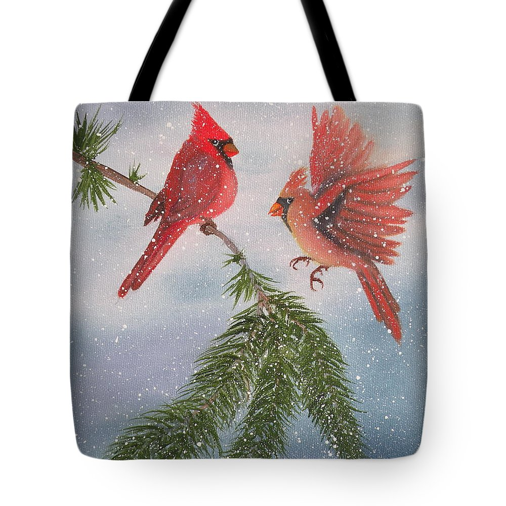 Cardinals Tote Bag featuring the painting Sweet Pair of Cardinals by Lora Duguay