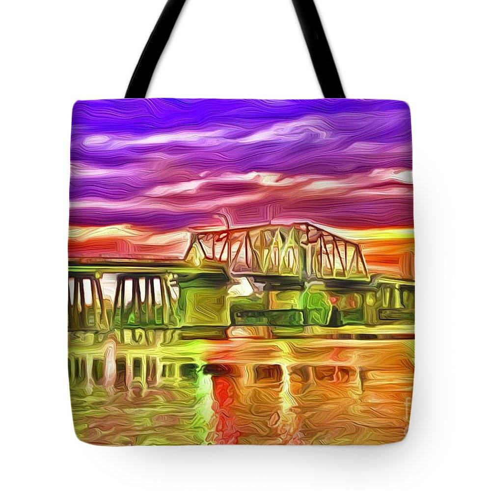 Landscape Tote Bag featuring the digital art Swing Bridge by Michael Stothard