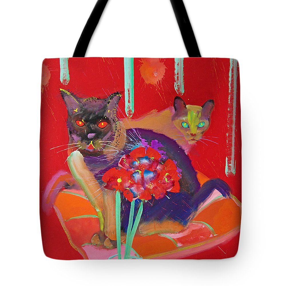 Burmese Cat Tote Bag featuring the painting Symphony In Red Two by Charles Stuart