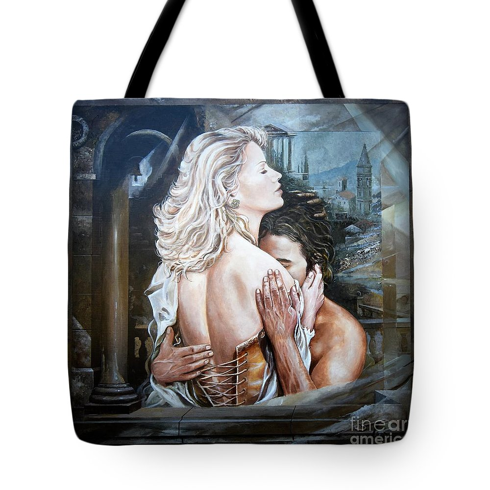 Portrait Tote Bag featuring the painting Take Me by Sinisa Saratlic