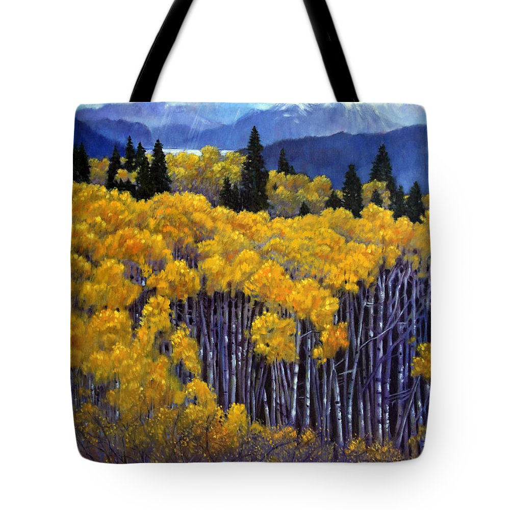 Snow Clouds Over Rocky Mountains Tote Bag featuring the painting Tall Aspens by John Lautermilch