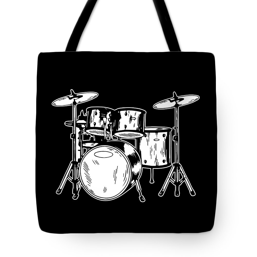 Drummer Tote Bag featuring the digital art Tempo Music Band Percussion Drum Set Drummer Gift by Haselshirt