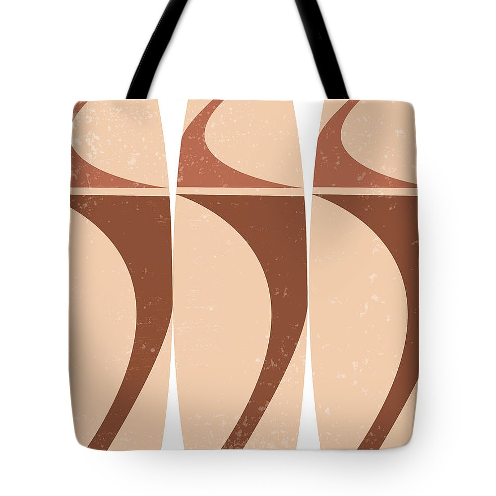 Terracotta Tote Bag featuring the mixed media Terracotta Abstract 45 - Modern, Contemporary Art - Abstract Organic Shapes - Surfboards - Brown by Studio Grafiikka