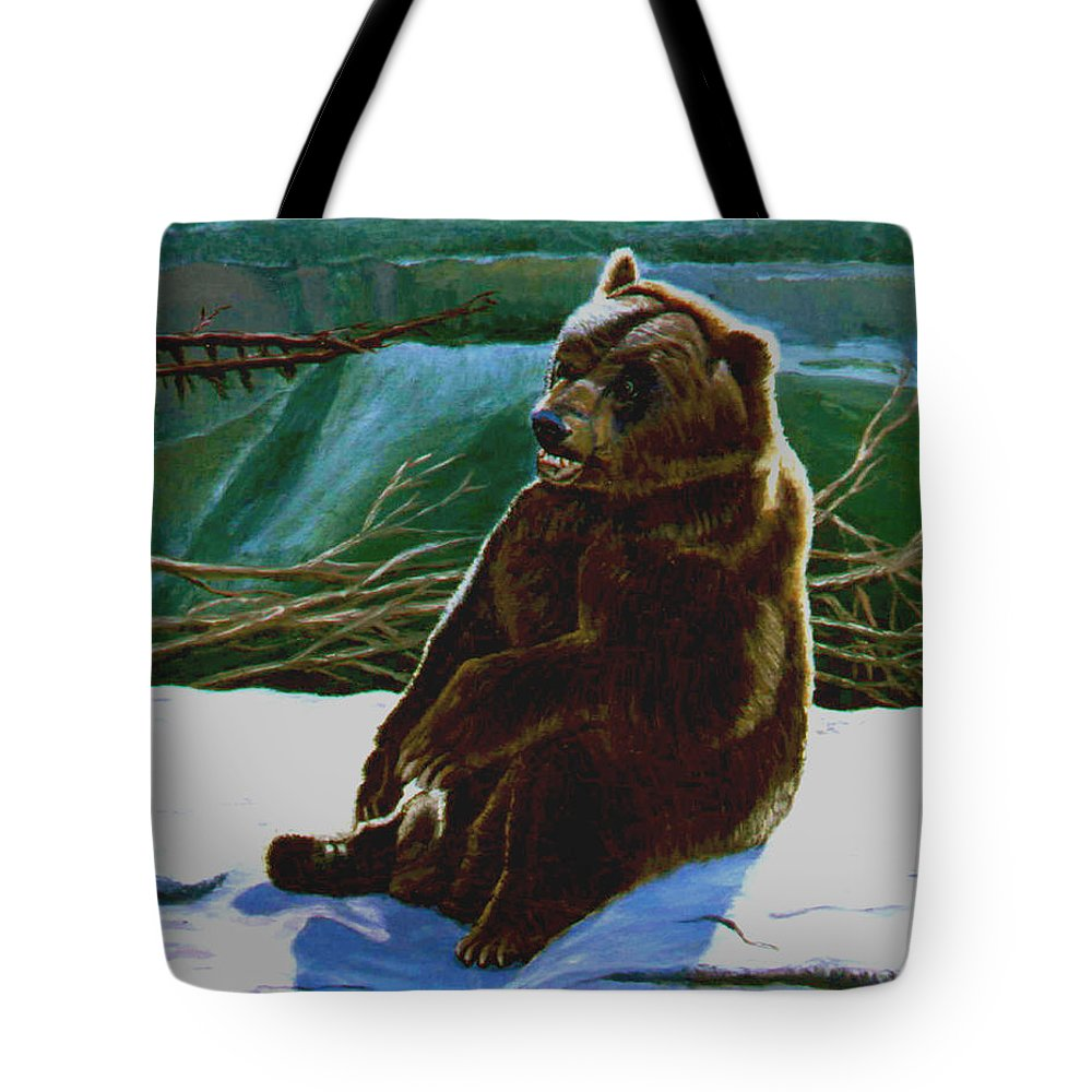 Original Oil On Canvas Tote Bag featuring the painting The Bear by Stan Hamilton
