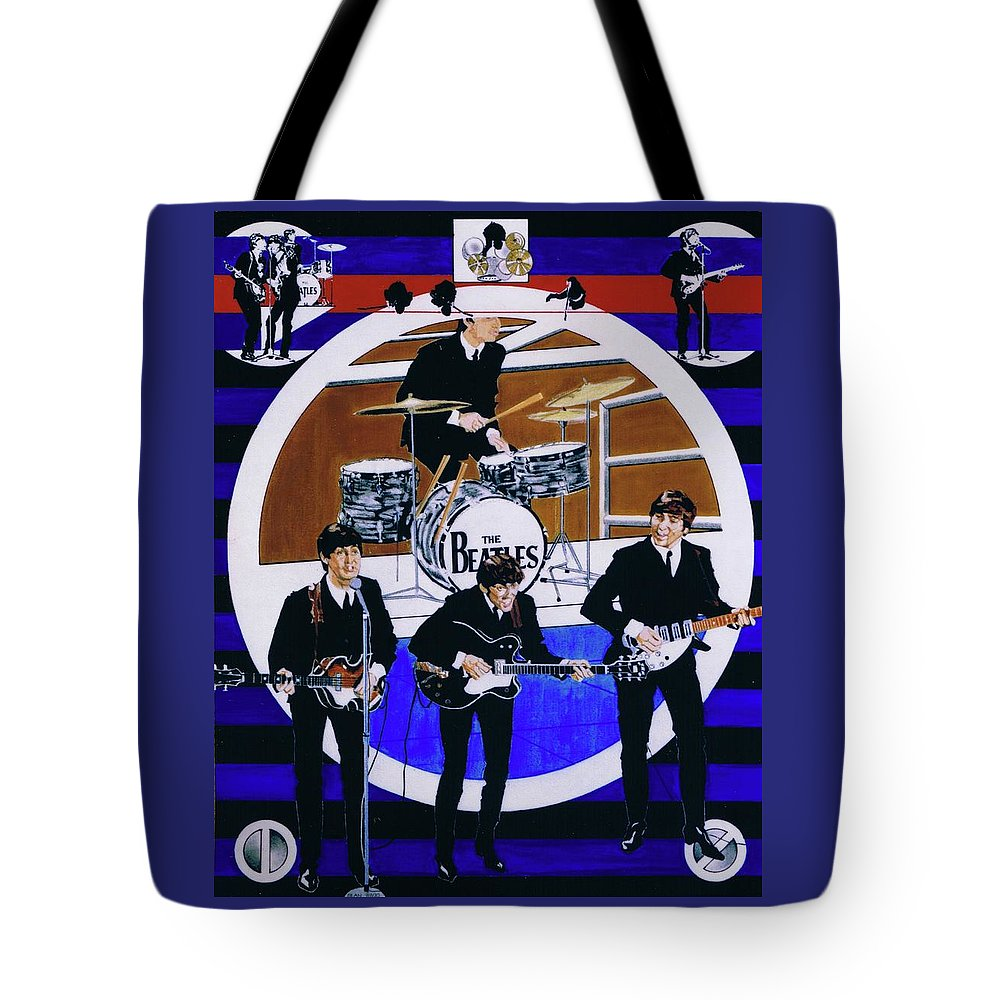 The Beatles Live Tote Bag featuring the drawing The Beatles - Live On The Ed Sullivan Show by Sean Connolly