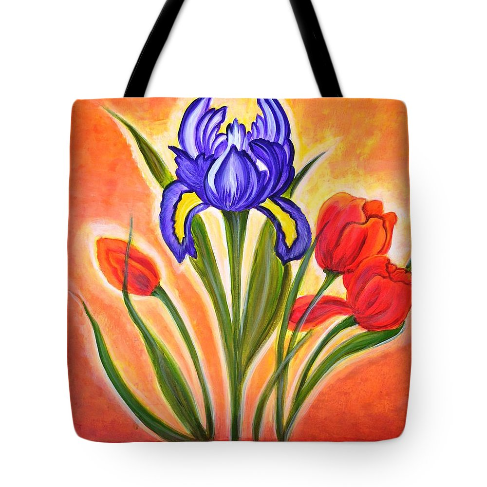 Flowers Tote Bag featuring the painting The Bloom by Manjiri Kanvinde