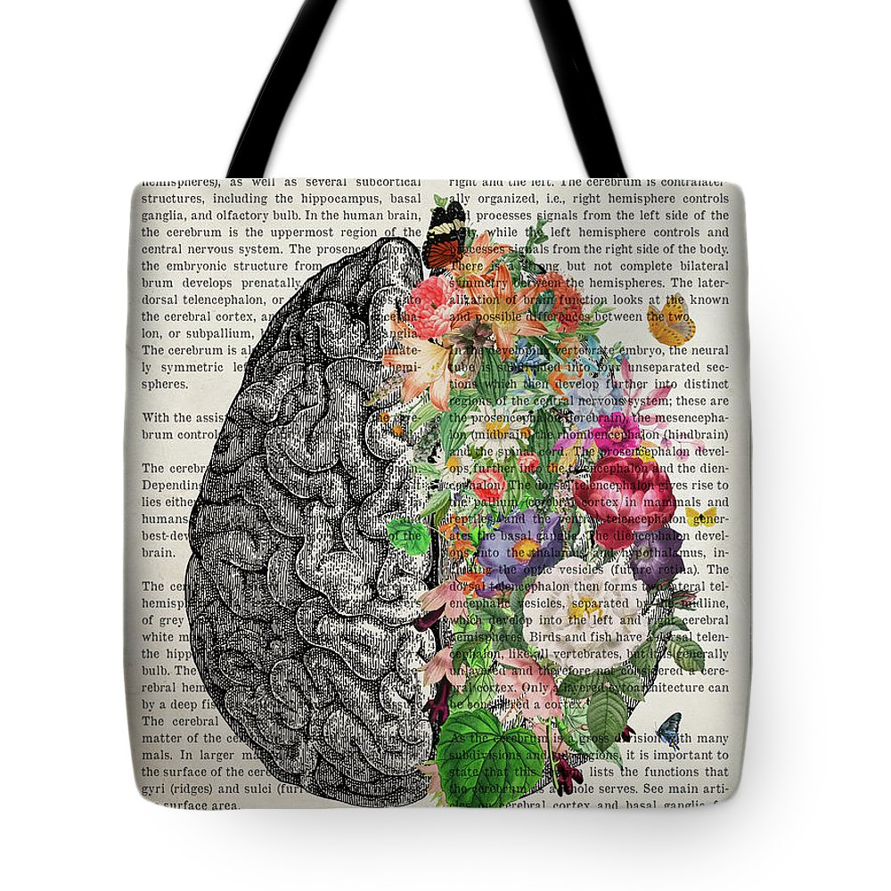 Cerebrum Tote Bag featuring the digital art The Cerebrum with Flowers by Aged Pixel